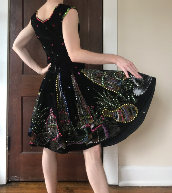 Rare 50s Hand painted velvet Mexican circle skirt… - image 4