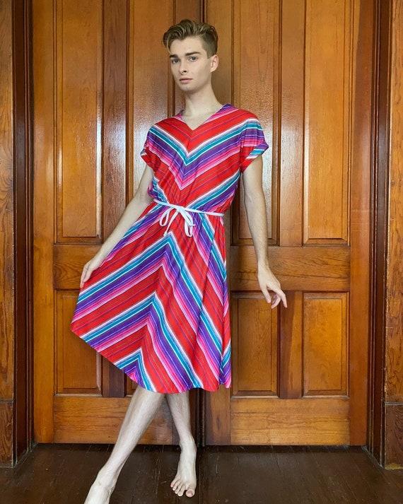 Late 70s chevron striped dress with tie belt