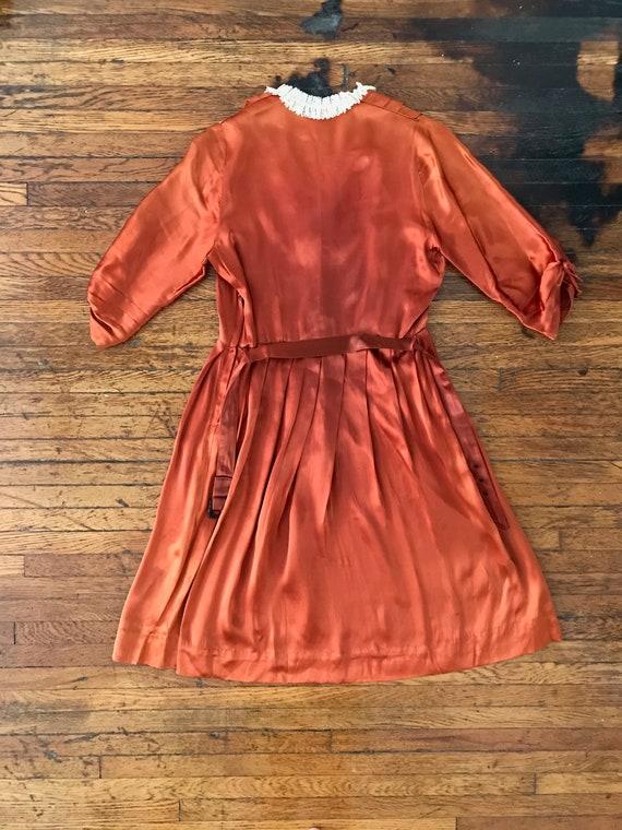 30s / 40s Orange liquid satin dress with matching… - image 6