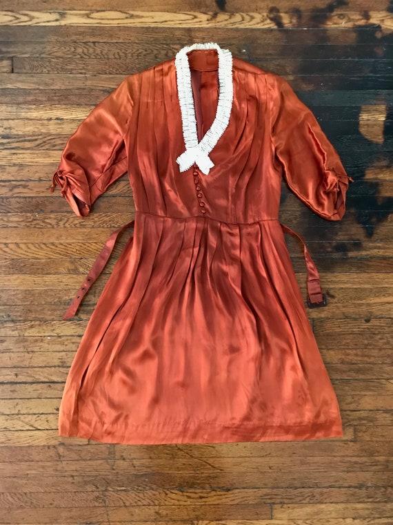 30s / 40s Orange liquid satin dress with matching… - image 5