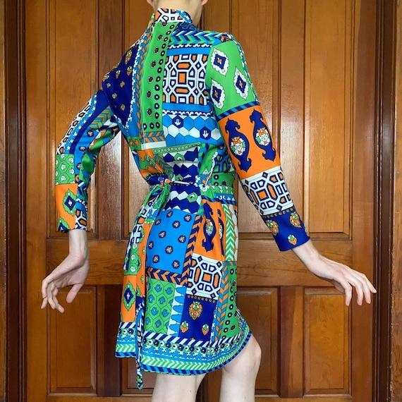 70s Patchwork print dress - image 3