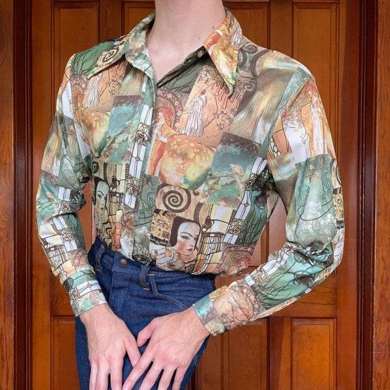 70s Art nouveau novelty print shirt