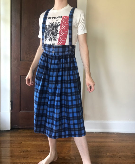 Late 70s / Early 80s Plaid suspender skirt