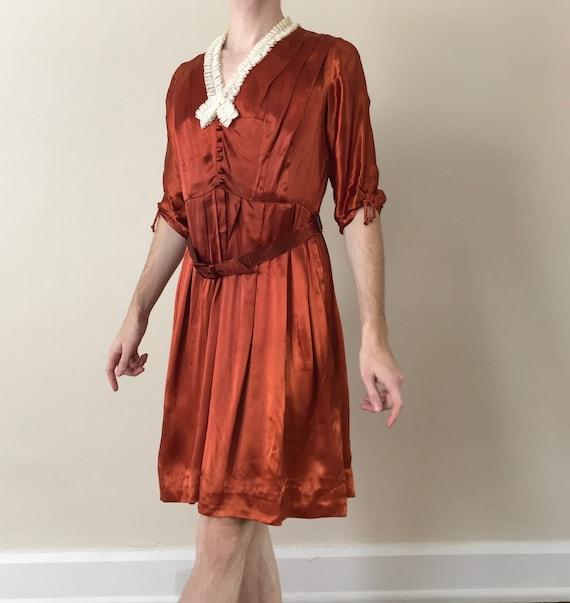 30s / 40s Orange liquid satin dress with matching… - image 2