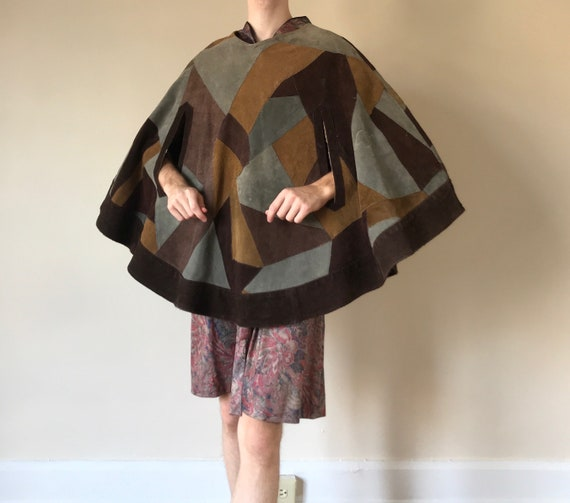 70s Suede patchwork cape