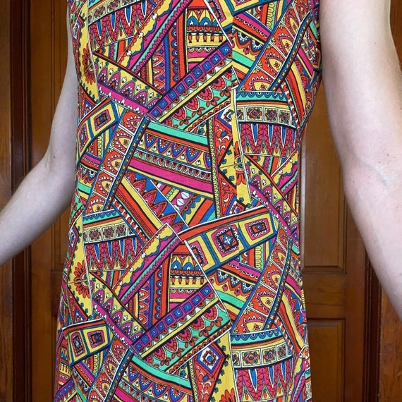 70s printed mini dress - image 4
