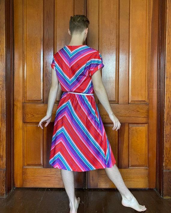 70s Chevron Striped Dress SM