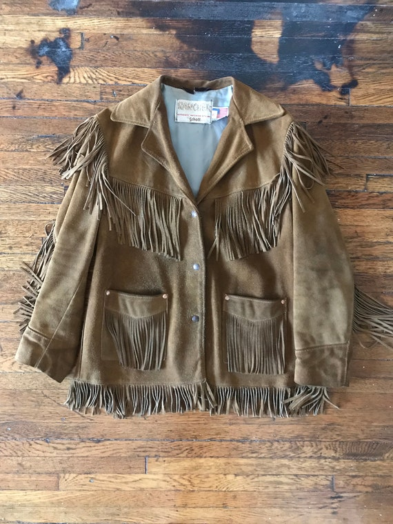 70s Schott suede fringe ranch wear jacket - image 4