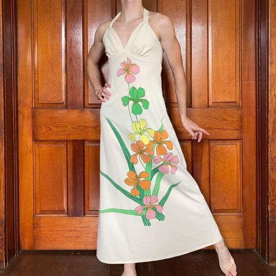 70s Floral halter dress