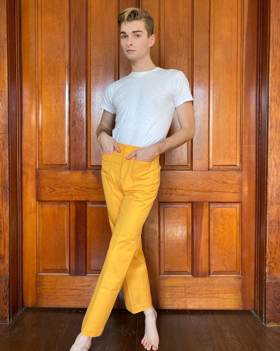 60s yellow high waisted trousers