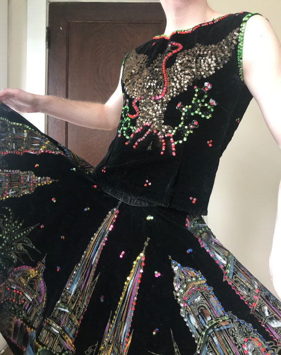 Rare 50s Hand painted velvet Mexican circle skirt… - image 5