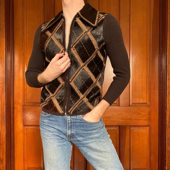 60s/70s Argyle cardigan with calf hair inserts