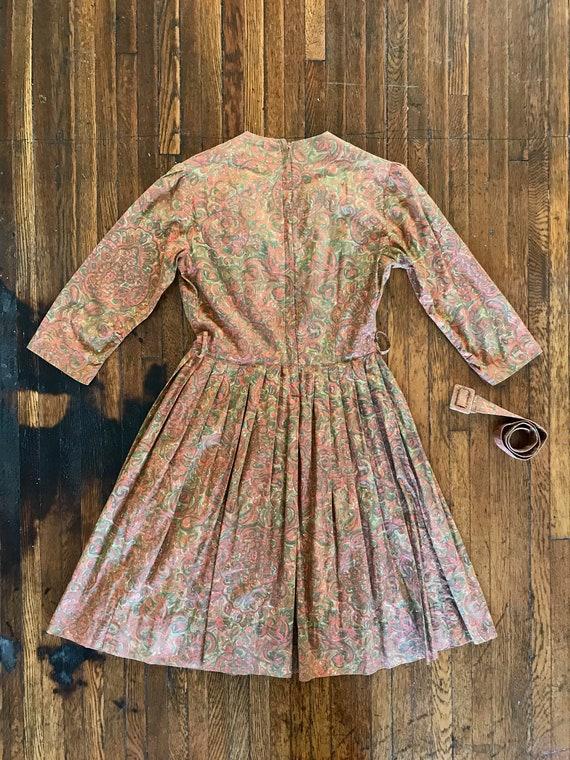 50s / 60s Paisley print dress with matching belt - image 4