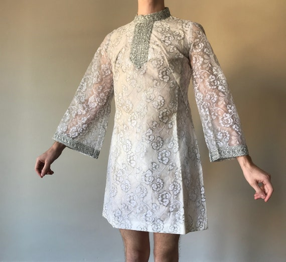 60s Deadstock lace mini dress with bell sleeves
