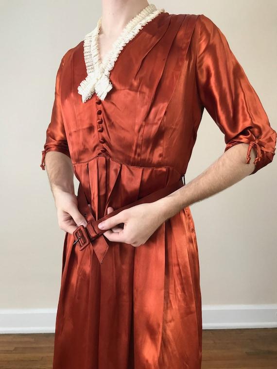 30s / 40s Orange liquid satin dress with matching… - image 4