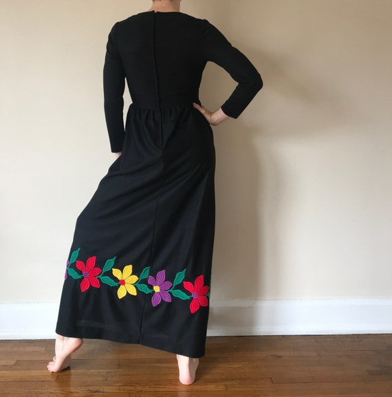 70s floral embroidered maxi dress - image 2