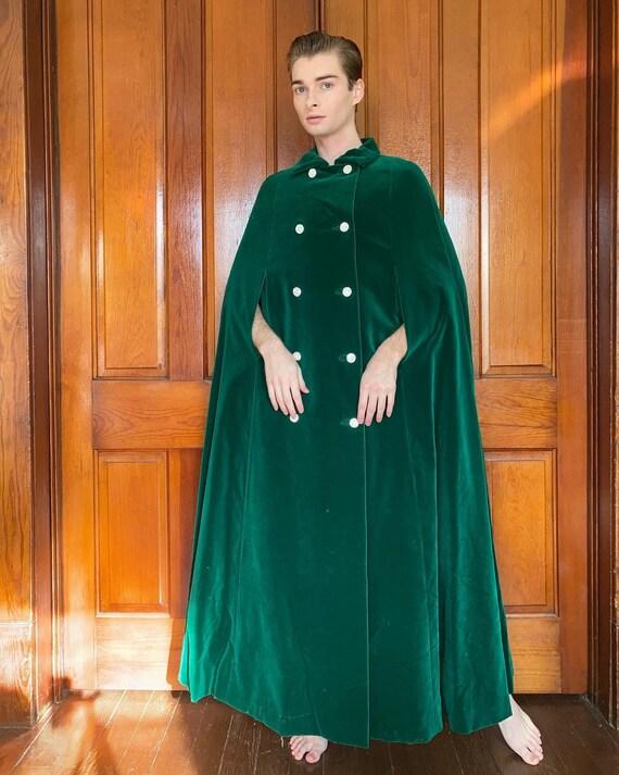 60s Green velvet cape