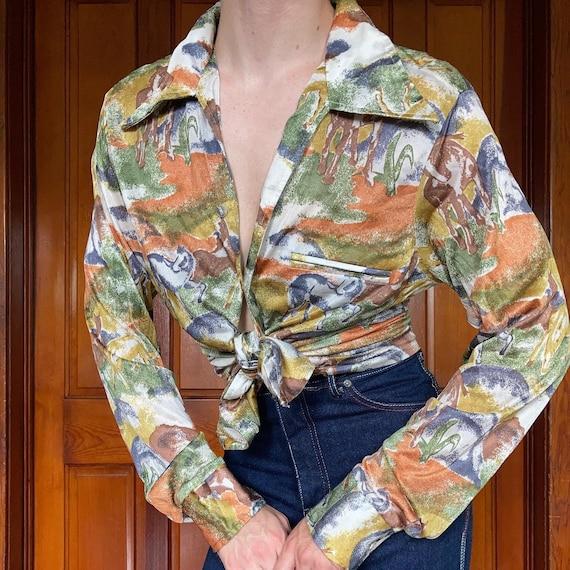 70s Novelty horse print disco shirt
