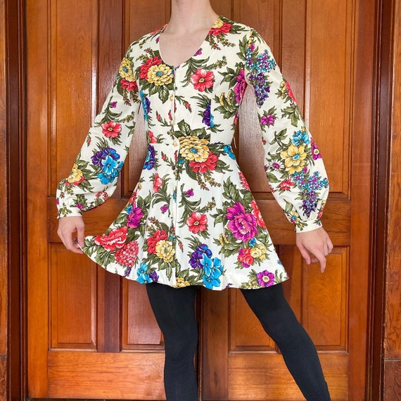 60s Sunday's child floral mini dress with bishop s