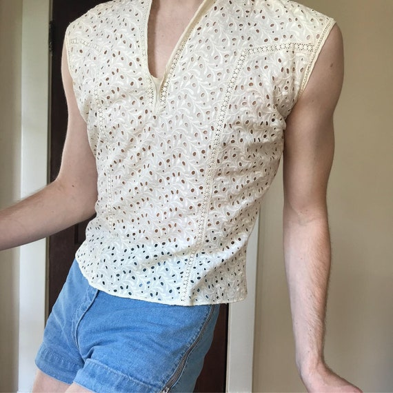 40s Cotton eyelet blouse