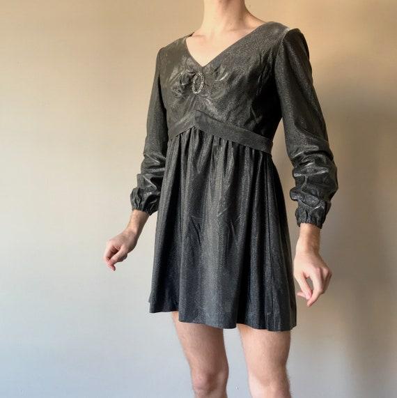 60s Metallic gunmetal mini dress