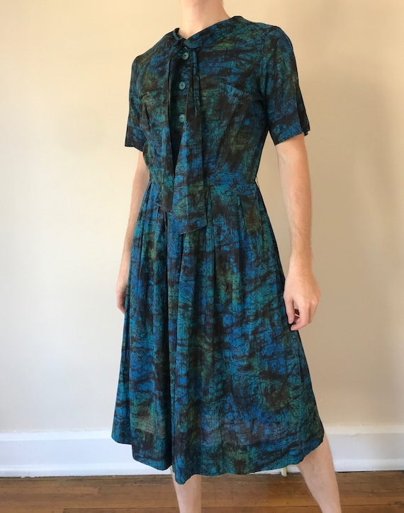 50s Abstract floral print dress
