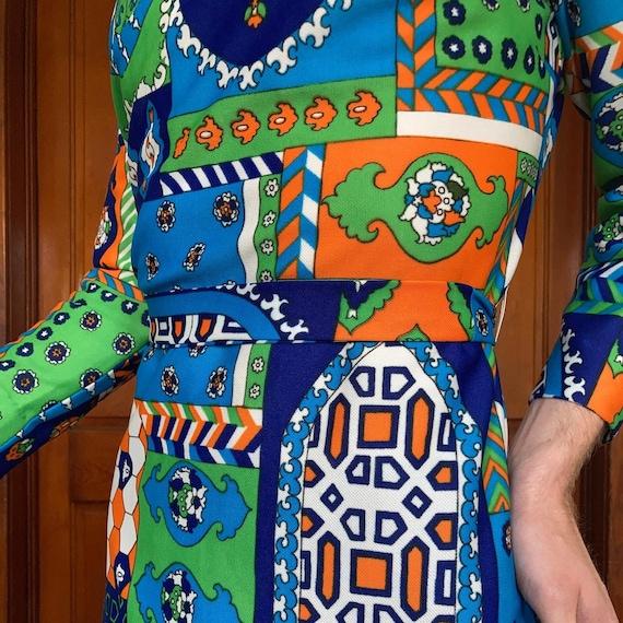 70s Patchwork print dress - image 5