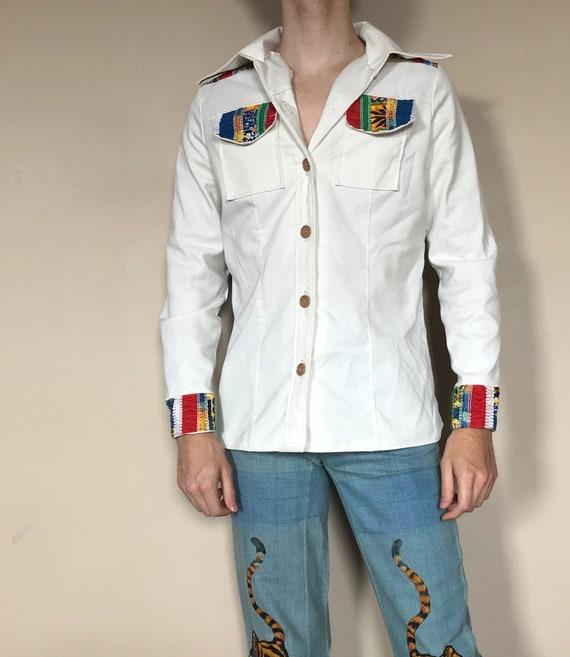 70s Rainbow shirt jacket