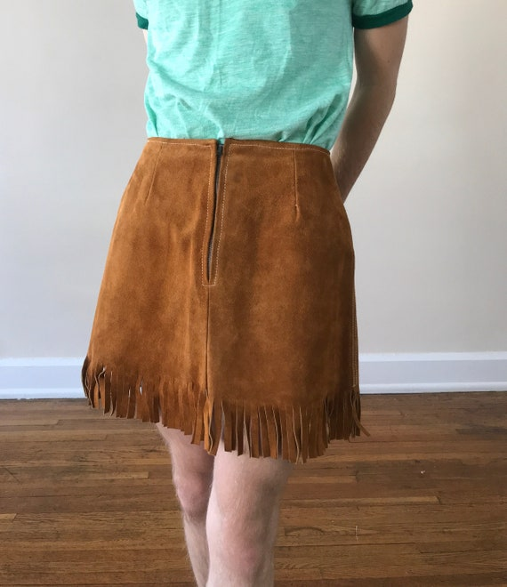 Late 60s suede fringe mini skirt