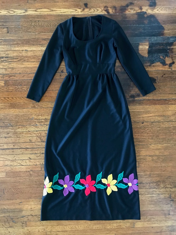 70s floral embroidered maxi dress - image 3