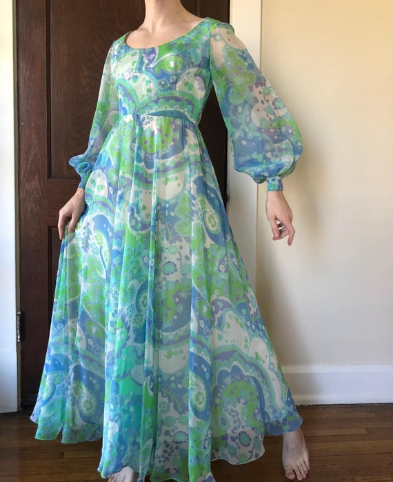 60s Pucci style print chiffon gown with balloon sl