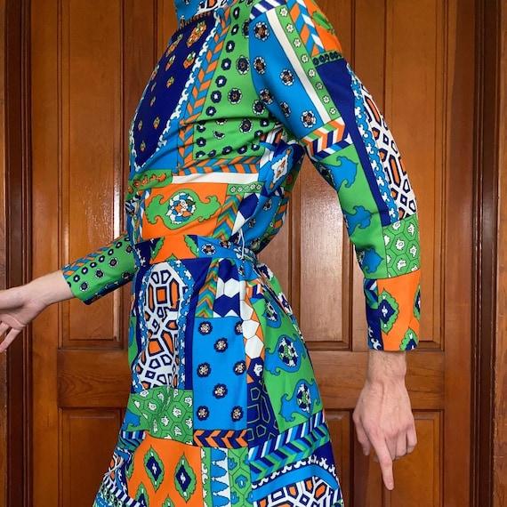 70s Patchwork print dress - image 4