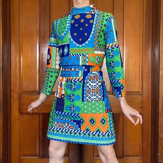 70s Patchwork print dress - image 1