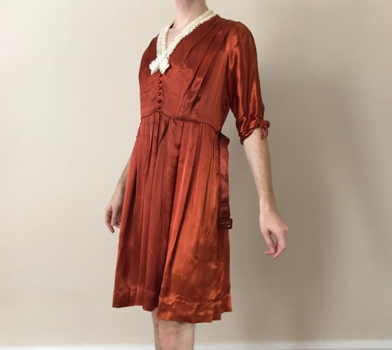 30s / 40s Orange liquid satin dress with matching