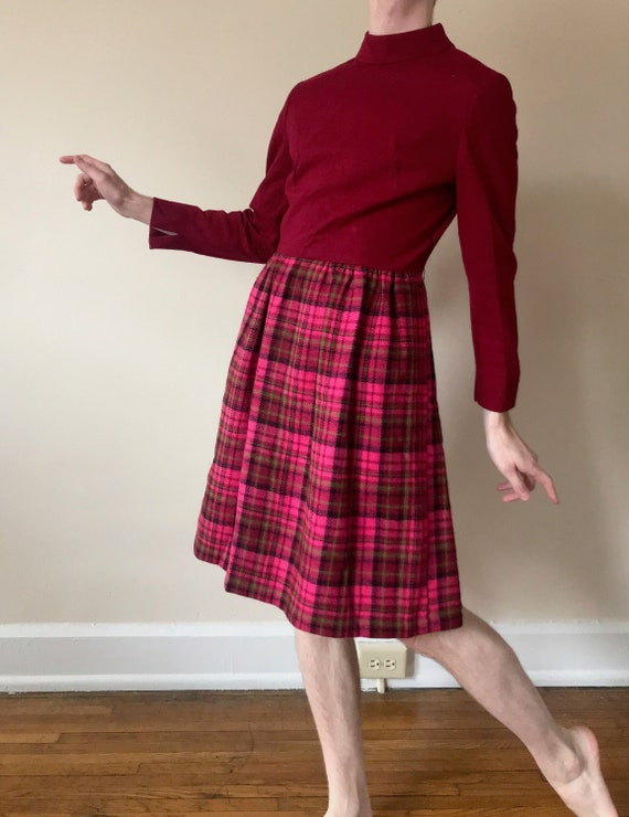 50s / 60s Suzy Perette plaid mod dress