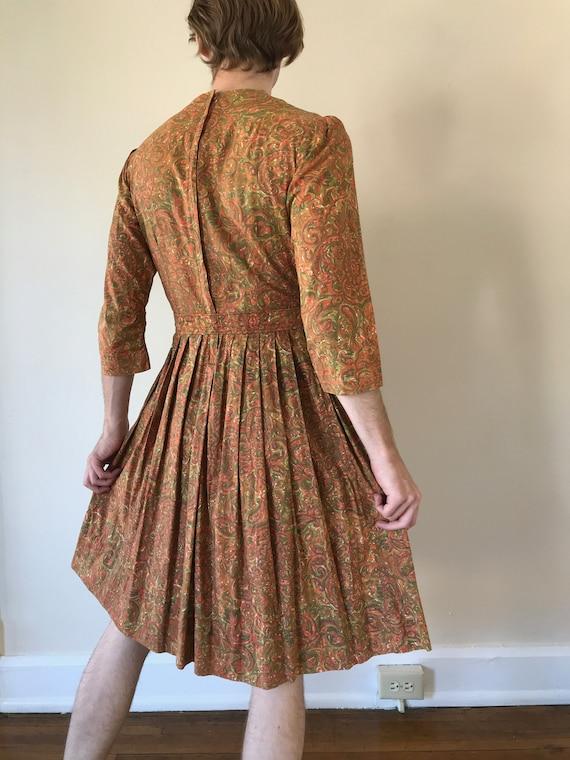 50s / 60s Paisley print dress with matching belt - image 2