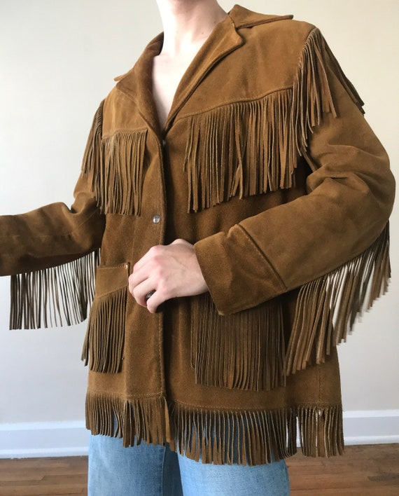 70s Schott suede fringe ranch wear jacket - image 3