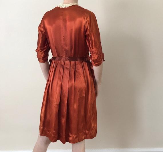 30s / 40s Orange liquid satin dress with matching… - image 3