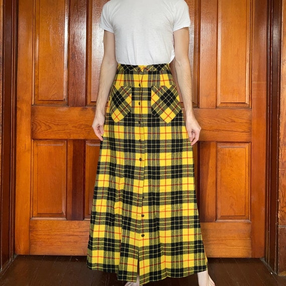 70s yellow tartan wool maxi skirt