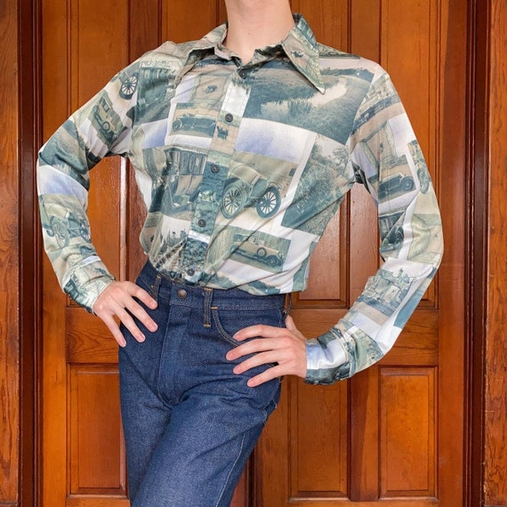 70s Novelty photograph print disco shirt