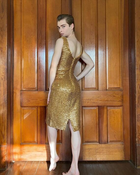 60s gold sequin bombshell dress