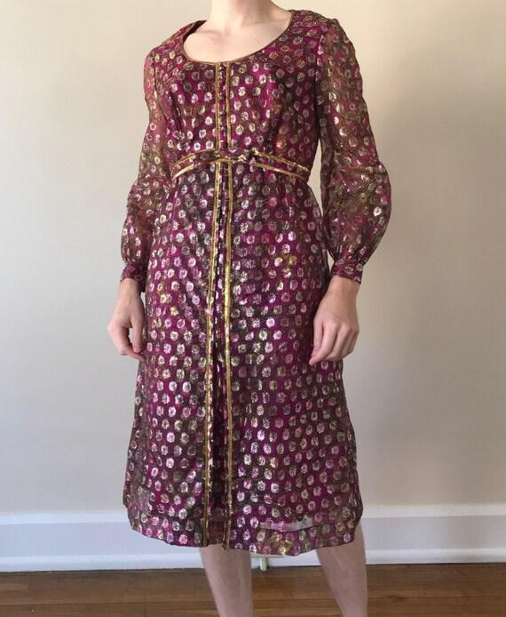 Deadstock 70s Metallic paisley print dress