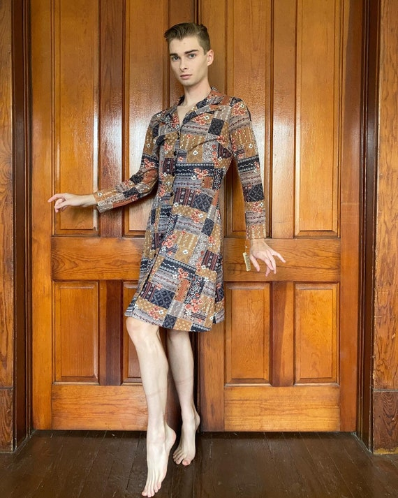 70s Deadstock floral and patchwork print dress