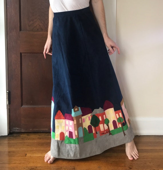 70s Rare patchwork maxi skirt by Clarissa