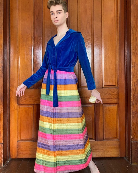 60s Deadstock rainbow quilted house dress with vel