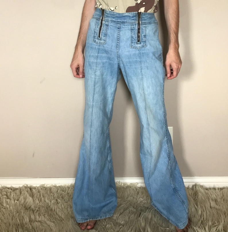 70s Double front zip high waisted Wrangler bell bottoms