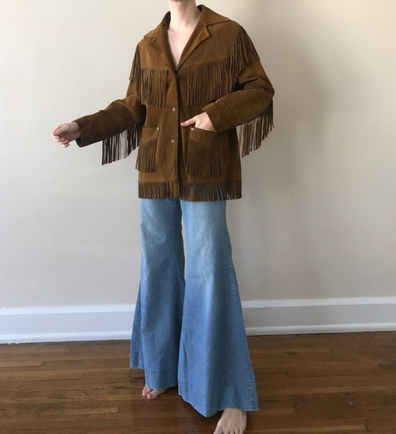 70s Schott suede fringe ranch wear jacket - image 1