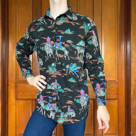 80s Western novelty print shirt