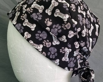 Dog bones and paws tie-back style surgery scrub cap