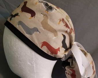 Dachshund surgery scrub cap, weenie dogs surgical hat for long hair with white ribbon.